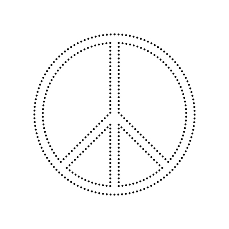 pacificist: Peace sign illustration. Vector. Black dotted icon on white background. Isolated. Illustration