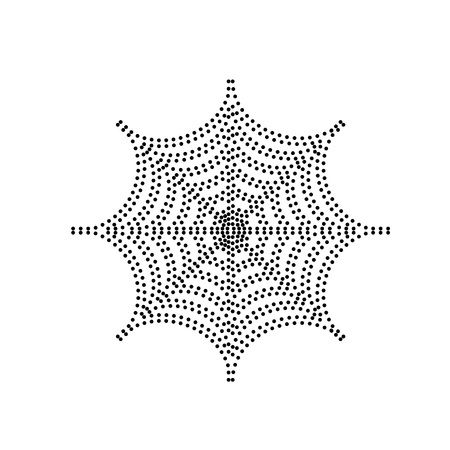 Spider on web illustration. Vector. Black dotted icon on white background. Isolated. Illustration