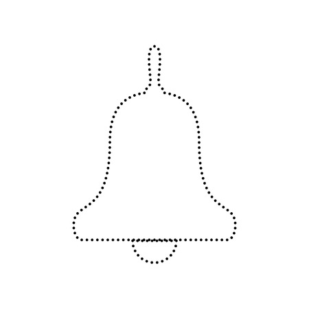 Bell Alarm, handbell sign. Vector. Black dotted icon on white background. Isolated.