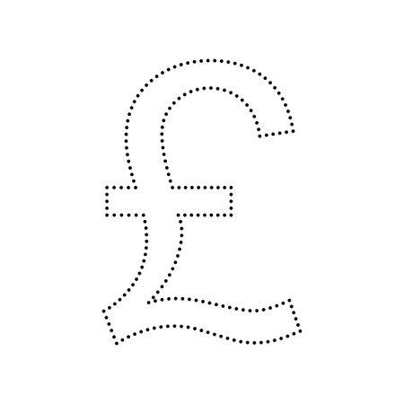 Turkish lira sign. Vector. Black dotted icon on white background. Isolated.