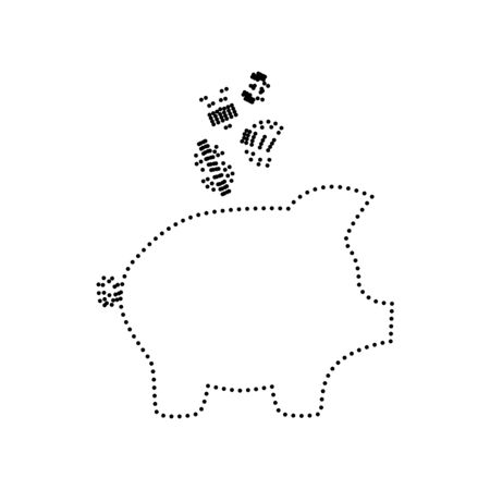 art processing: Piggy bank sign with the currencies. Vector. Black dotted icon