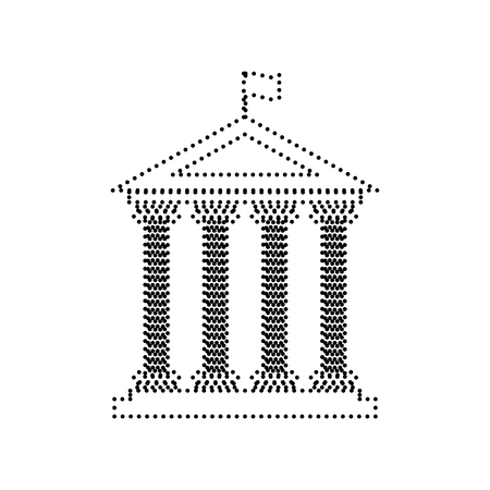roman pillar: Historical building with flag. Vector. Black dotted icon