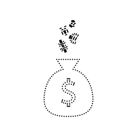 Money bag sign with currency symbols. Vector. Black dotted icon on white background. Isolated.