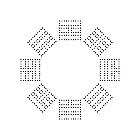 trigram: Bagua sign. Vector. Black dotted icon on white background. Isolated.