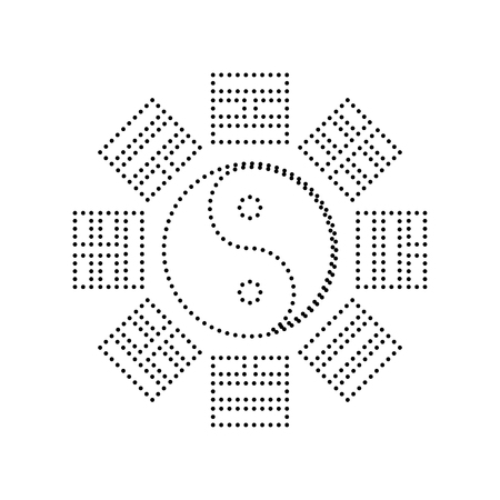 taijitu: Yin and yang sign with bagua arrangement. Vector. Black dotted icon on white background. Isolated.