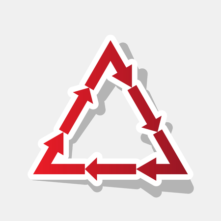v cycle: Plastic recycling symbol PVC 3 , Plastic recycling code PVC 3. Vector. New year reddish icon with outside stroke and gray shadow on light gray background.