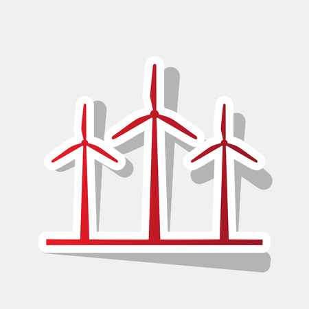 Wind turbines sign. Vector. New year reddish icon with outside stroke and gray shadow on light gray background. Illustration