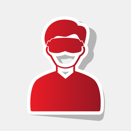 Man with sleeping mask sign. Vector. New year reddish icon with outside stroke and gray shadow on light gray background. Illustration