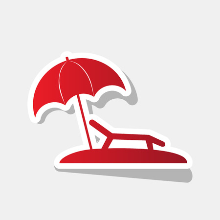 brolly: Tropical resort beach. Sunbed Chair sign. Vector. New year reddish icon with outside stroke and gray shadow on light gray background.