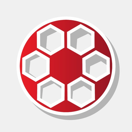 Soccer ball sign. Vector. New year reddish icon with outside stroke and gray shadow on light gray background. Illustration