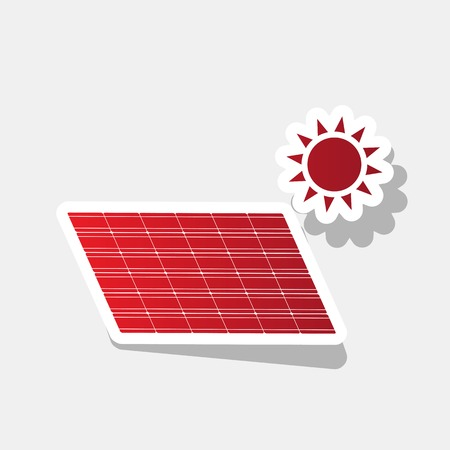 electricity meter: Solar energy panel. Eco trend concept sign. Vector. New year reddish icon with outside stroke and gray shadow on light gray background. Illustration