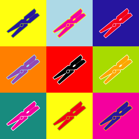Clothes peg sign. Vector. Pop-art style colorful icons set with 3 colors. Illustration
