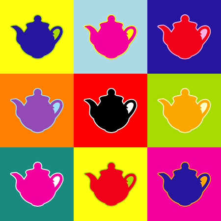 Tea maker sign. Vector. Pop-art style colorful icons set with 3 colors.