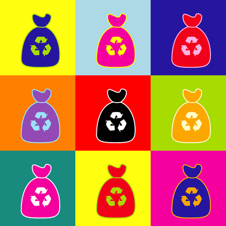 Trash bag icon. Vector. Pop-art style colorful icons set with 3 colors.