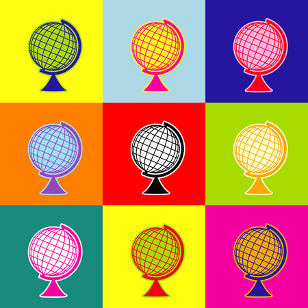 Earth Globe sign. Vector. Pop-art style colorful icons set with 3 colors.