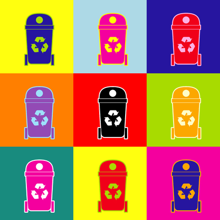 trashing: Trashcan sign illustration. Vector. Pop-art style colorful icons set with 3 colors.