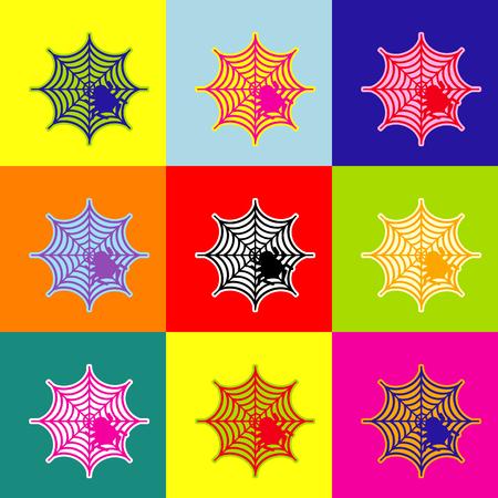 Spin op web illustratie Vector. Pop-art stijl kleurrijke pictogrammen ingesteld met 3 kleuren. Stock Illustratie