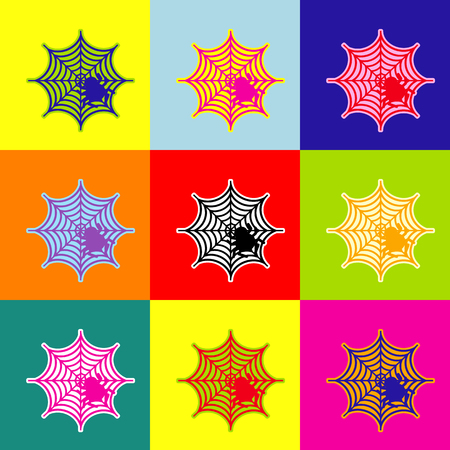 Spider on web illustration Vector. Pop-art style colorful icons set with 3 colors. Illustration