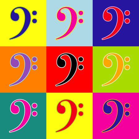 quaver: Cube sign illustration. Vector. Pop-art style colorful icons set with 3 colors. Illustration