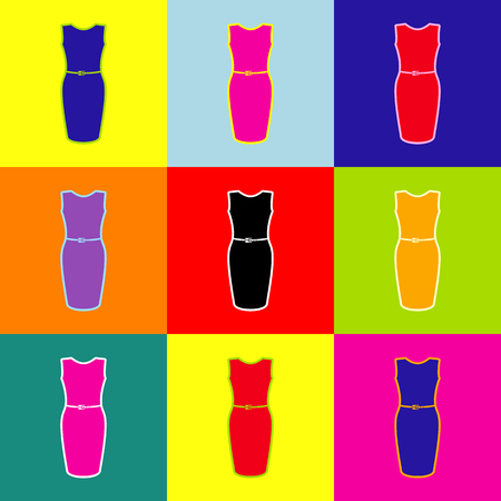 Dress sign illustration. Vector. Pop-art style colorful icons set with 3 colors.