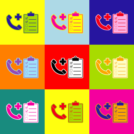 Medical consultration sign. Vector. Pop-art style colorful icons set with 3 colors. Ilustrace
