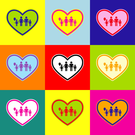 family: Family sign illustration in heart shape. Vector. Pop-art style colorful icons set with 3 colors. Illustration