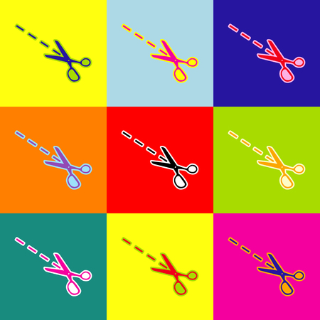 snip: Scissors sign illustration. Vector. Pop-art style colorful icons set with 3 colors.