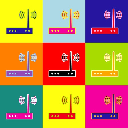 Wifi modem sign. Vector. Pop-art style colorful icons set with 3 colors. Иллюстрация