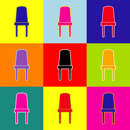Office chair sign. Vector. Pop-art style colorful icons set with 3 colors. Illustration