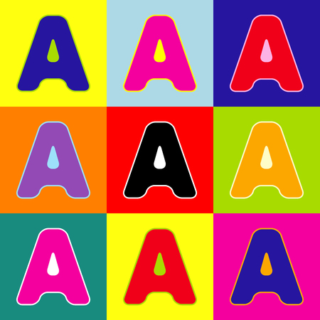 Letter A sign design template element. Vector. Pop-art style colorful icons set with 3 colors. Illustration
