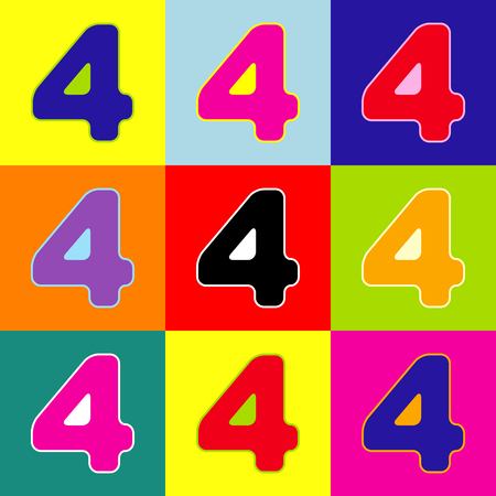 Number 4 sign design template element. Vector. Pop-art style colorful icons set with 3 colors. Illustration