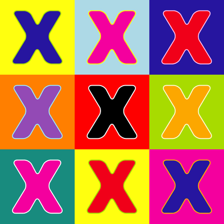 Letter X sign design template element. Vector. Pop-art style colorful icons set with 3 colors.