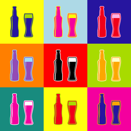 Beer bottle sign. Vector. Pop-art style colorful icons set with 3 colors. Illustration