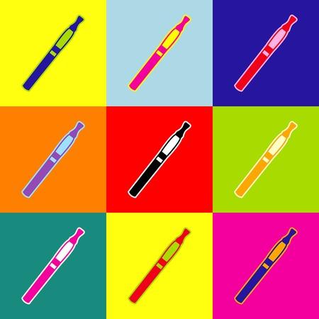E-sigaret teken. Vector. Pop-art stijl kleurrijke pictogrammen instellen met 3 kleuren. Stock Illustratie