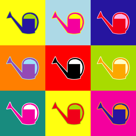 Watering sign. Vector. Pop-art style colorful icons set with 3 colors.