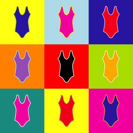 Woman`s swimsuit sign. Vector. Pop-art style colorful icons set with 3 colors.