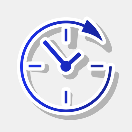 not open: Service and support for customers around the clock and 24 hours. Vector. New year bluish icon with outside stroke and gray shadow on light gray background.