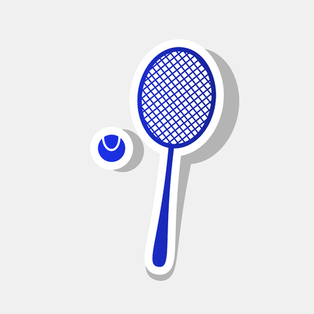 Tennis racquet sign. Vector. New year bluish icon with outside stroke and gray shadow on light gray background.