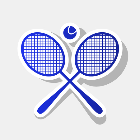 Tennis racket sign. Vector. New year bluish icon with outside stroke and gray shadow on light gray background. Illustration