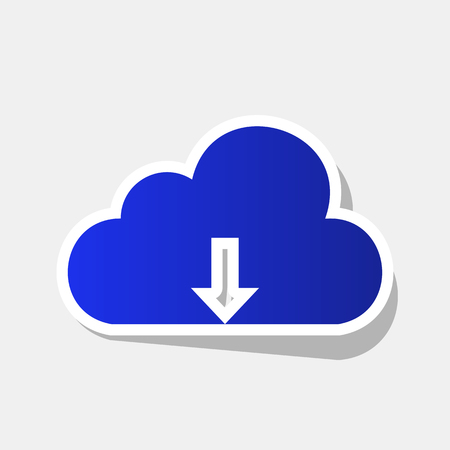 art processing: Cloud technology sign. Vector. New year bluish icon with outside stroke and gray shadow on light gray background.