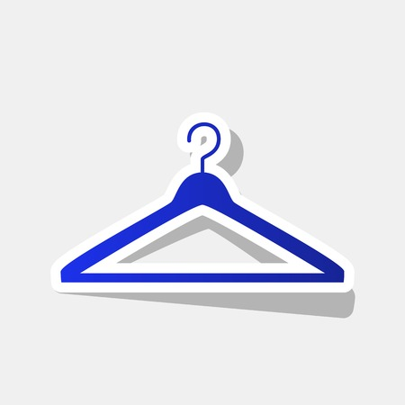 clothing rack: Hanger sign illustration. Vector. New year bluish icon with outside stroke and gray shadow on light gray background.