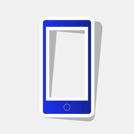 responsive design: Abstract style modern gadget with blank screen. Template for any content. Vector. New year bluish icon with outside stroke and gray shadow on light gray background. Illustration