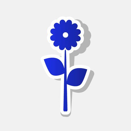 Flower sign illustration. Vector. New year bluish icon with outside stroke and gray shadow on light gray background.