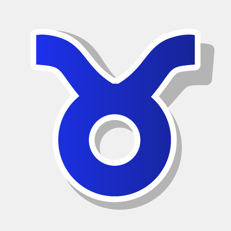 Taurus sign illustration. Vector. New year bluish icon with outside stroke and gray shadow on light gray background.
