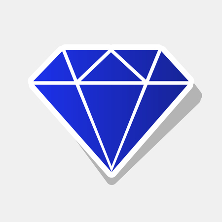 Diamond sign illustration. Vector. New year bluish icon with outside stroke and gray shadow on light gray background. Illustration