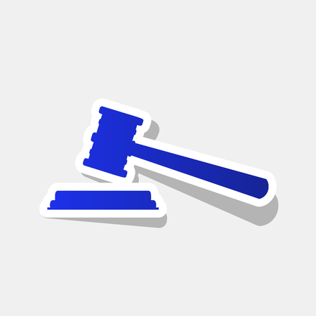 right choice: Justice hammer sign. Vector. New year bluish icon with outside stroke and gray shadow on light gray background.