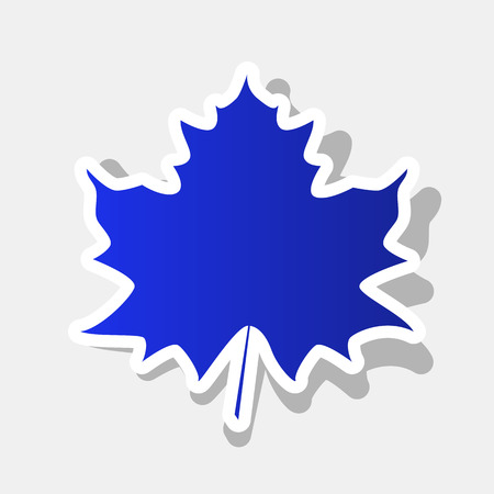 Maple leaf sign. Vector. New year bluish icon with outside stroke and gray shadow on light gray background.