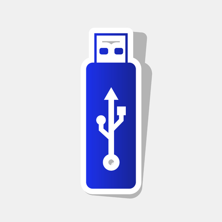 storage device: Vector USB flash drive sign. Vector. New year bluish icon with outside stroke and gray shadow on light gray background. Illustration