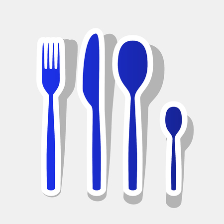 Fork spoon and knife sign. Vector. New year bluish icon with outside stroke and gray shadow on light gray background.