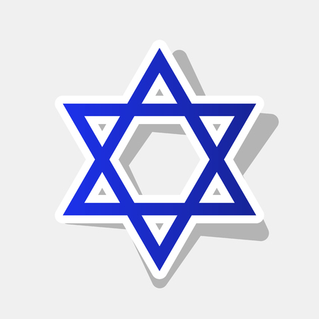 Shield Magen David Star. Symbol of Israel. Vector. New year bluish icon with outside stroke and gray shadow on light gray background.